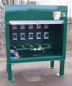 5 position Fill Point Cabinet with 5 contents gauge and 5 over under bund alarms all fitted behind a roller door